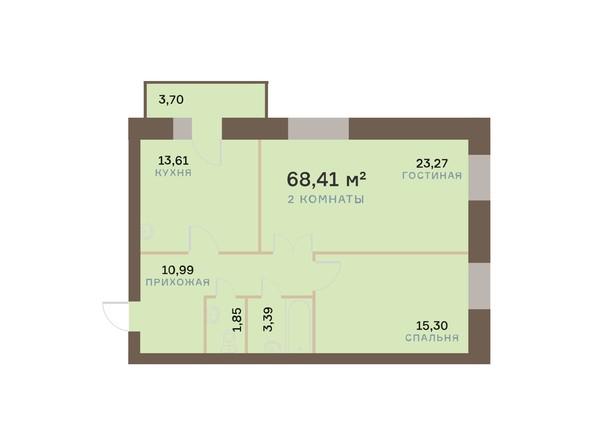 Планировки Жилой комплекс ЮЖНЫЙ БЕРЕГ мкр, 17 дом - Планировка двухкомнатной квартиры 69,52 кв.м