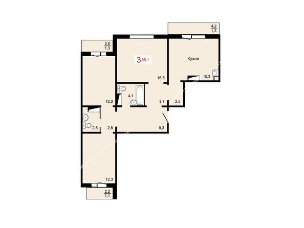 Планировки Жилой комплекс КУРЧАТОВА ж/к, 6 дом, 1 стр - 3 блок-секция. Планировка трехкомнатной квартиры 85,1 кв.м