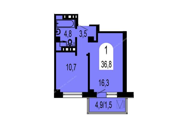 Планировки Жилой комплекс ТИХИЕ ЗОРИ мкр, 1 дом (Красстрой) - Планировка однокомнатной квартиры 36,8 кв.м