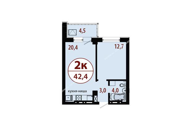 Планировки новостроек БЕЛЫЕ РОСЫ МКР, 25 дом - Секция 1. Планировка двухкомнатной квартиры 42,4 кв.м