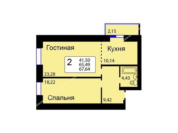 Планировки новостроек РЯБИНОВЫЙ САД ж/к, 3 оч, 2 этап - Б/С - 11. Планировка двухкомнатной квартиры 67,64 кв.м. Этажи 1-9.