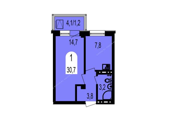 Планировки Жилой комплекс ТИХИЕ ЗОРИ мкр, 1 дом (Красстрой) - Планировка однокомнатной квартиры 30,7 кв.м