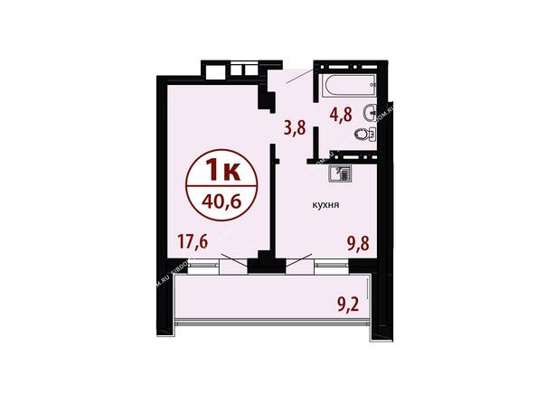 БЕЛЫЕ РОСЫ мкр, 26 дом: Секция №1. Планировка однокомнатной квартиры 40,6 кв.м