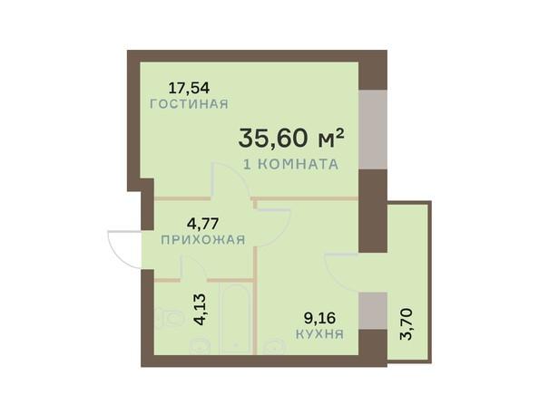 Планировки Жилой комплекс ЮЖНЫЙ БЕРЕГ мкр, 17 дом - Планировка однокомнатной квартиры 36,71 кв.м