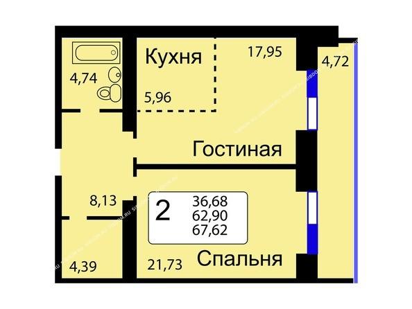 Планировки новостроек РЯБИНОВЫЙ САД ж/к, 3 оч, 2 этап - Б/С - 11. Планировка двухкомнатной квартиры 67,62 кв.м. Этажи 10-16.