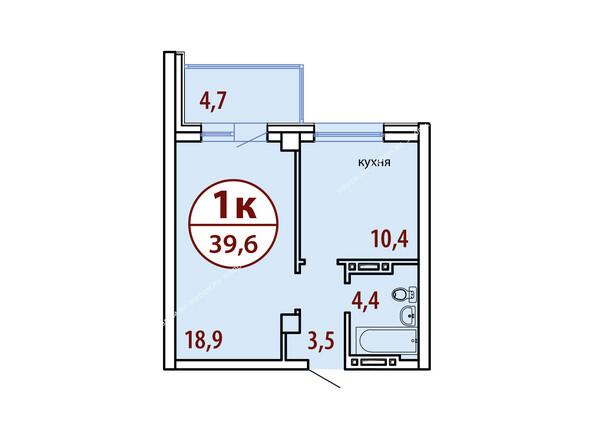 Планировки Жилой комплекс БЕЛЫЕ РОСЫ МКР, 22 дом - Секция №1. Планировка однокомнатной квартиры 39,6 кв.м