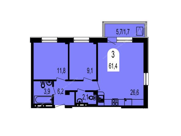 Планировки Жилой комплекс ТИХИЕ ЗОРИ мкр, 1 дом (Красстрой) - Планировка трехкомнатной квартиры 61,4 кв.м