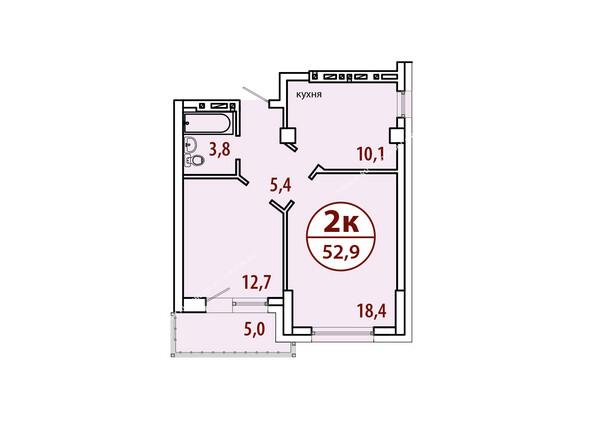 Планировки Жилой комплекс БЕЛЫЕ РОСЫ МКР, 22 дом - Секция №2. Планировка двухкомнатной квартиры 52,9 кв.м