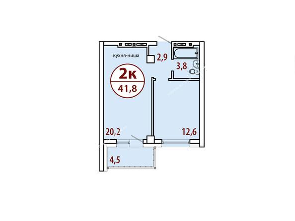 Планировки Жилой комплекс БЕЛЫЕ РОСЫ МКР, 22 дом - Секция №2. Планировка двухкомнатной квартиры 41,8 кв.м