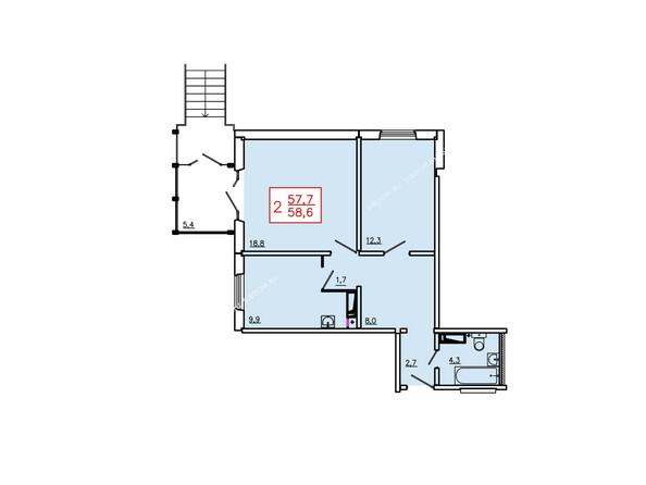 Планировка двухкомнатной квартиры 58,6 кв.м. 1 этаж