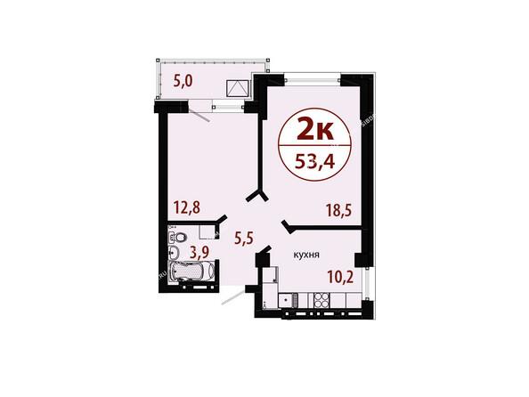 Планировки новостроек БЕЛЫЕ РОСЫ МКР, 25 дом - Секция 1. Планировка двухкомнатной квартиры 53,4 кв.м