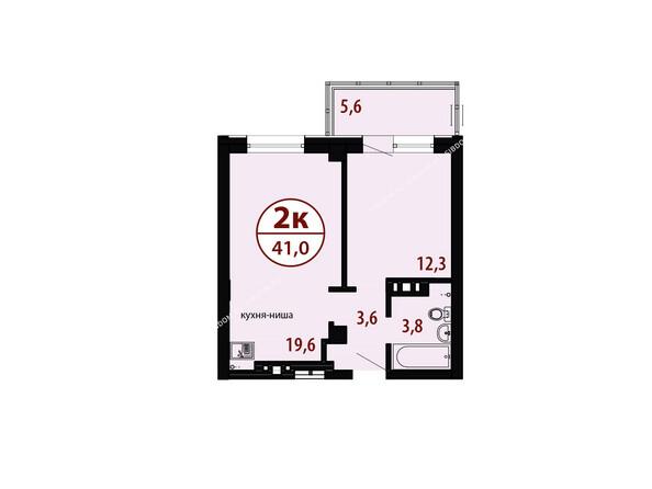 БЕЛЫЕ РОСЫ мкр, 26 дом: Секция №2. Планировка двухкомнатной квартиры 41,0 кв.м