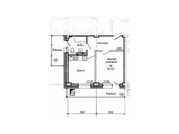 Планировки Жилой комплекс ГЛОБУС ж/к, 7 дом - Планировка однокомнатной квартиры 42,42 кв.м