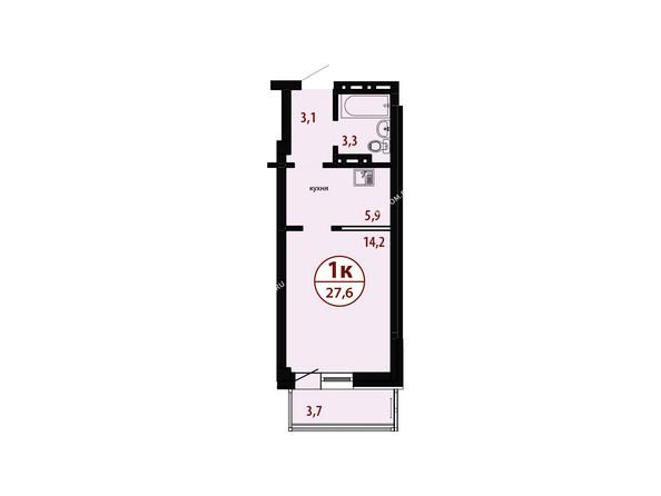 БЕЛЫЕ РОСЫ мкр, 26 дом: Секция №4. Планировка однокомнатной квартиры 27,6 кв.м