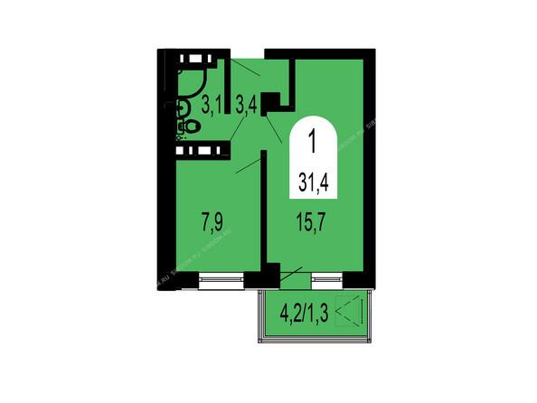 Планировки Жилой комплекс ТИХИЕ ЗОРИ мкр, 1 дом (Красстрой) - Планировка однокомнатной квартиры 31,4 кв.м