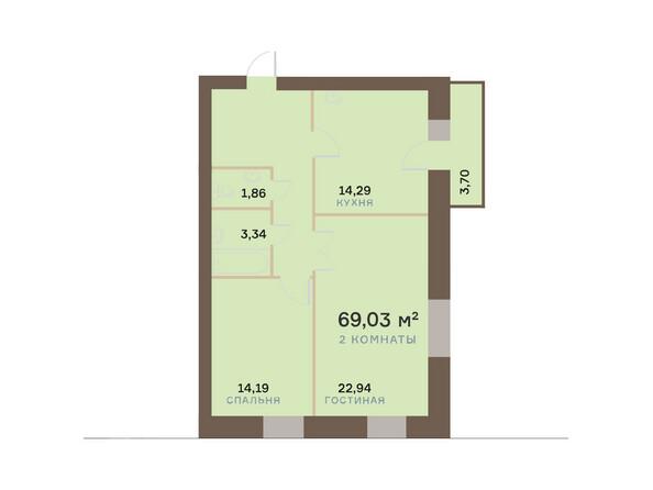 Планировки Жилой комплекс ЮЖНЫЙ БЕРЕГ мкр, 17 дом - Планировка двухкомнатной квартиры 70,14 кв.м