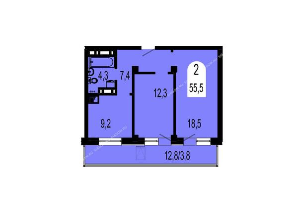 Планировки Жилой комплекс ТИХИЕ ЗОРИ мкр, 1 дом (Красстрой) - Планировка двухкомнатной квартиры 55,5 кв.м