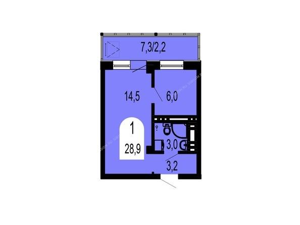 Планировки Жилой комплекс ТИХИЕ ЗОРИ мкр, 1 дом (Красстрой) - Планировка однокомнатной квартиры 28,9 кв.м
