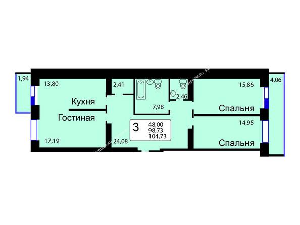 Планировки новостроек РЯБИНОВЫЙ САД ж/к, 3 оч, 2 этап - Б/С - 12. Планировка трехкомнатной квартиры 104,73 кв.м. Этажи 1-9.