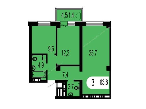 Планировки Жилой комплекс ТИХИЕ ЗОРИ мкр, 1 дом (Красстрой) - Планировка трехкомнатной квартиры 63,8 кв.м