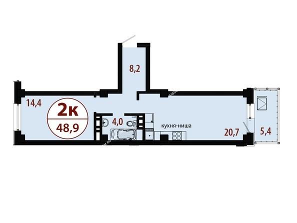 Планировки новостроек БЕЛЫЕ РОСЫ МКР, 25 дом - Секция 1. Планировка двухкомнатной квартиры 48,9 кв.м