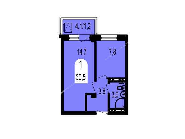 Планировки Жилой комплекс ТИХИЕ ЗОРИ мкр, 1 дом (Красстрой) - Планировка однокомнатной квартиры 30,5 кв.м
