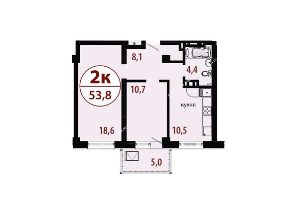 Планировки новостроек БЕЛЫЕ РОСЫ МКР, 25 дом - Секция 1. Планировка двухкомнатной квартиры 53,8 кв.м
