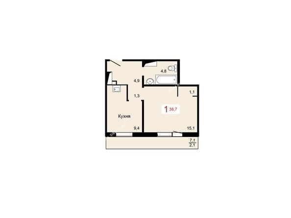 Планировки Жилой комплекс КУРЧАТОВА ж/к, 6 дом, 1 стр - 1 блок-секция. Планировка однокомнатной квартиры 38,7 кв.м