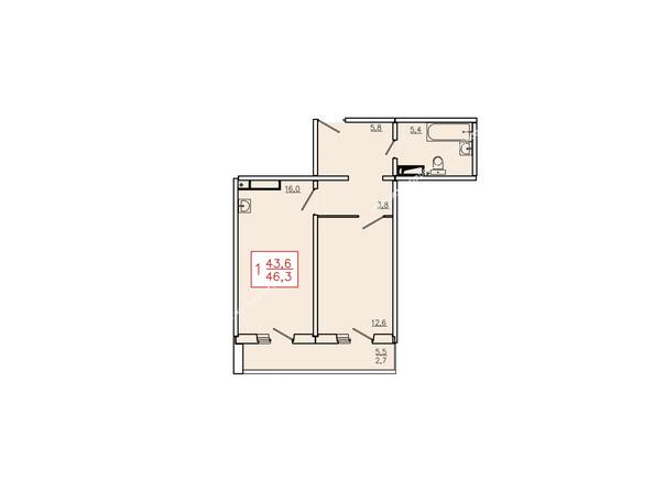 Планировка однокомнатной квартиры 46,3 кв.м. Этаж 17