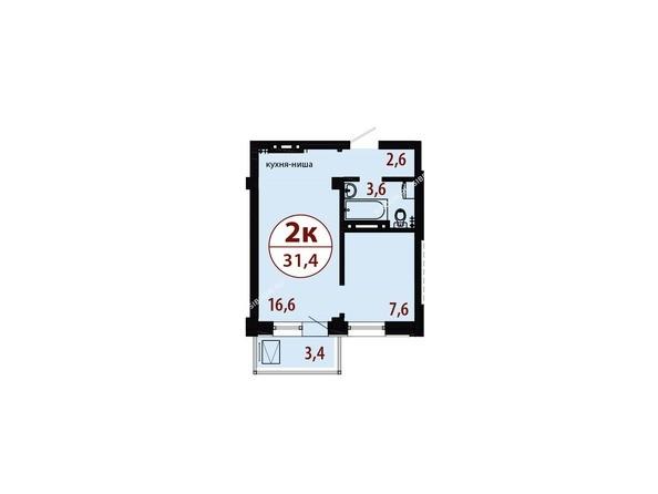 Секция 1. Планировка двухкомнатной квартиры 31,4 кв.м
