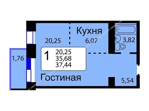 Планировки новостроек РЯБИНОВЫЙ САД ж/к, 3 оч, 2 этап - Б/С - 12. Планировка однокомнатной квартиры 37,44 кв.м. Этажи 10-16.