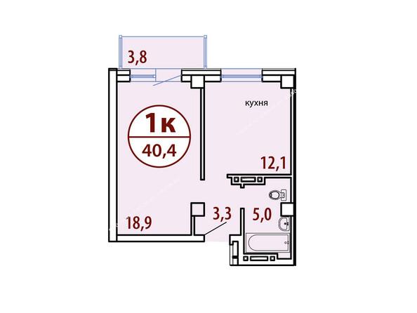 Планировки Жилой комплекс БЕЛЫЕ РОСЫ МКР, 22 дом - Секция №1. Планировка однокомнатной квартиры 40,4 кв.м
