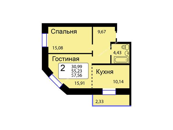 Планировки новостроек РЯБИНОВЫЙ САД ж/к, 3 оч, 2 этап - Б/С - 12. Планировка двухкомнатной квартиры 57,56 кв.м. Этажи 1-9.