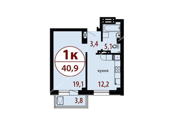 Планировки новостроек БЕЛЫЕ РОСЫ МКР, 25 дом - Секция 2. Планировка однокомнатной квартиры 40,9 кв.м