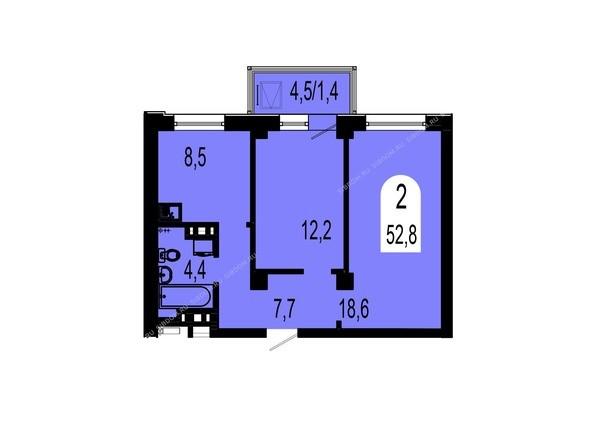 Планировки Жилой комплекс ТИХИЕ ЗОРИ мкр, 1 дом (Красстрой) - Планировка двухкомнатной квартиры 52,8 кв.м
