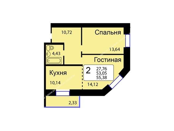 Планировки новостроек РЯБИНОВЫЙ САД ж/к, 3 оч, 2 этап - Б/С - 12. Планировка двухкомнатной квартиры 55,38 кв.м. Этажи 1-9.