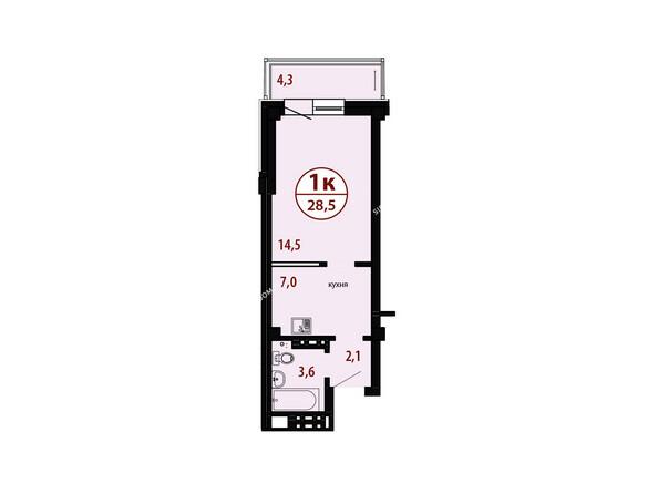 БЕЛЫЕ РОСЫ мкр, 26 дом: Секция №3. Планировка однокомнатной квартиры 28,5 кв.м