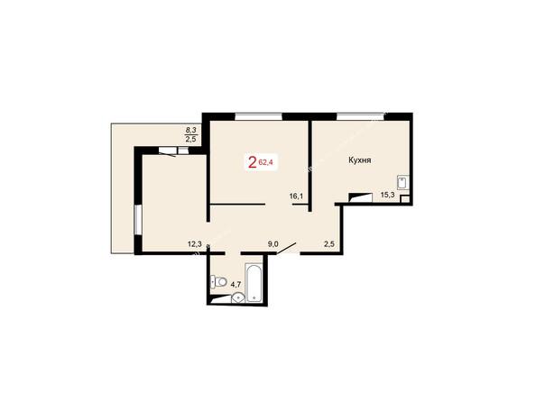 Планировки Жилой комплекс КУРЧАТОВА ж/к, 6 дом, 1 стр - 1 блок-секция. Планировка двухкомнатной квартиры 62,4 кв.м