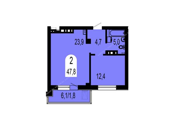 Планировки Жилой комплекс ТИХИЕ ЗОРИ мкр, 1 дом (Красстрой) - Планировка двухкомнатной квартиры 47,8 кв.м