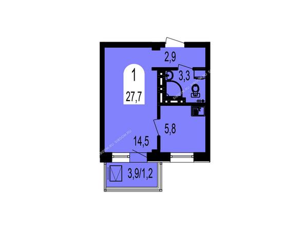 Планировки Жилой комплекс ТИХИЕ ЗОРИ мкр, 1 дом (Красстрой) - Планировка однокомнатной квартиры 27,7 кв.м