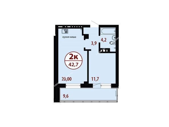 БЕЛЫЕ РОСЫ мкр, 26 дом: Секция №2. Планировка двухкомнатной квартиры 42,7 кв.м