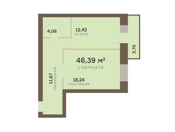 Планировки Жилой комплекс ЮЖНЫЙ БЕРЕГ мкр, 17 дом - Планировка однокомнатной квартиры 47,5 кв.м
