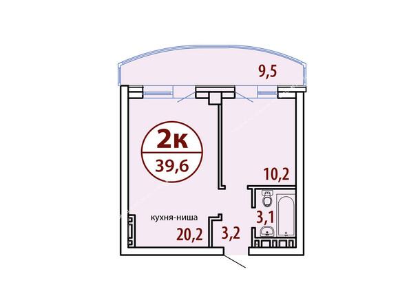 Планировки Жилой комплекс БЕЛЫЕ РОСЫ МКР, 22 дом - Секция №1. Планировка двухкомнатной квартиры 39,6 кв.м