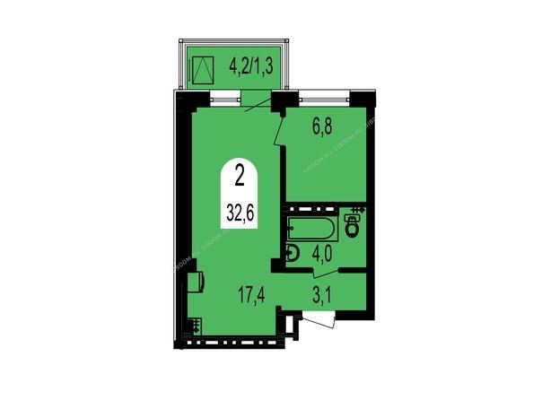 Планировки Жилой комплекс ТИХИЕ ЗОРИ мкр, 1 дом (Красстрой) - Планировка двухкомнатной квартиры 32,6 кв.м