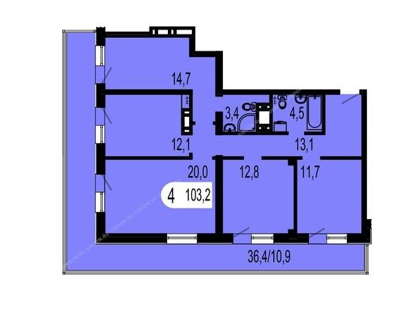 Планировки Жилой комплекс ТИХИЕ ЗОРИ мкр, 1 дом (Красстрой) - Планировка четырехкомнатной квартиры 103,2 кв.м