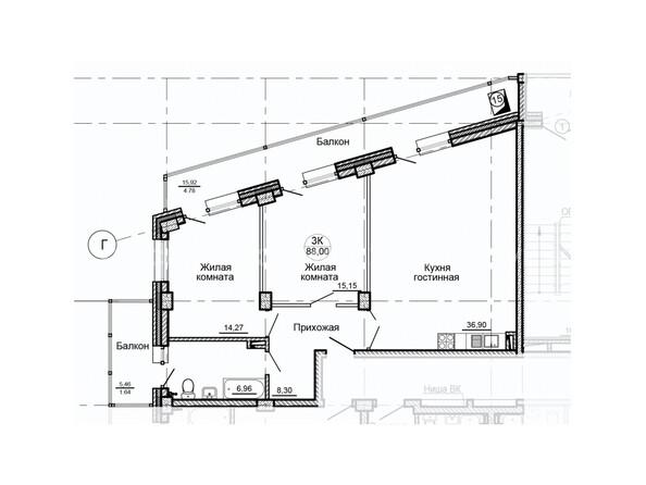 Планировки Жилой комплекс ГЛОБУС ж/к, 7 дом - Планировка трехкомнатной квартиры 88 кв.м
