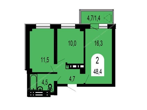 Планировки Жилой комплекс ТИХИЕ ЗОРИ мкр, 1 дом (Красстрой) - Планировка двухкомнатной квартиры 48,4 кв.м