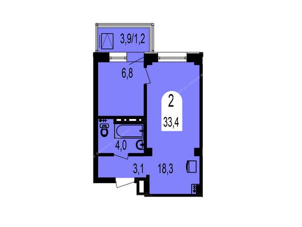 Планировки Жилой комплекс ТИХИЕ ЗОРИ мкр, 1 дом (Красстрой) - Планировка двухкомнатной квартиры 33,4 кв.м