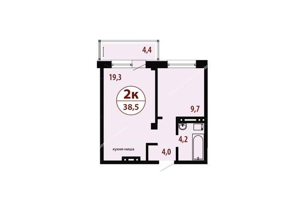 Планировки новостроек СЕРЕБРЯНЫЙ мкр, квр 1, 1 дом - Секция 3. Планировка двухкомнатной квартиры 38,5 кв.м