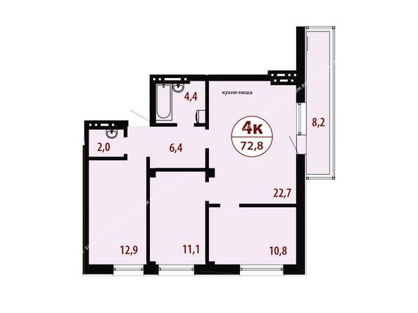 Планировки новостроек СЕРЕБРЯНЫЙ мкр, квр 1, 1 дом - Секция 3. Планировка четырехкомнатной квартиры 72,8 кв.м